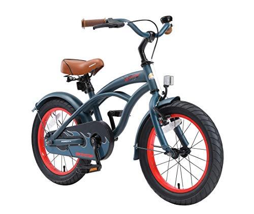 BIKESTAR Premium Sicherheits Kinderfahrrad 16 Zoll für Jungen ab 4 - 5 Jahre ★ 16er Kinderrad Cruiser ★ Fahrrad für Kinder Blau