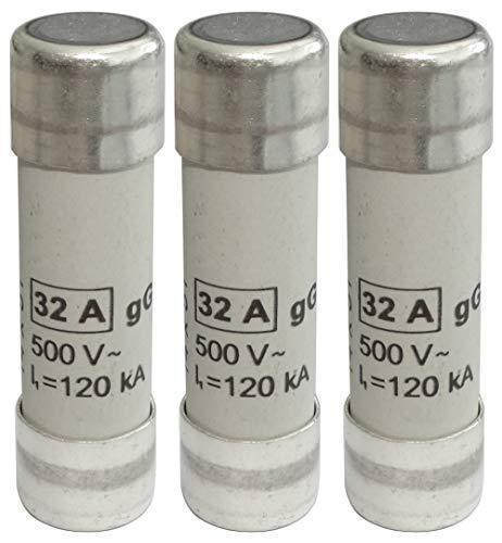 AERZETIX: 3x Fusible cerámico gG 5cm 32A 32000mA 500VAC 14x51mm C42368