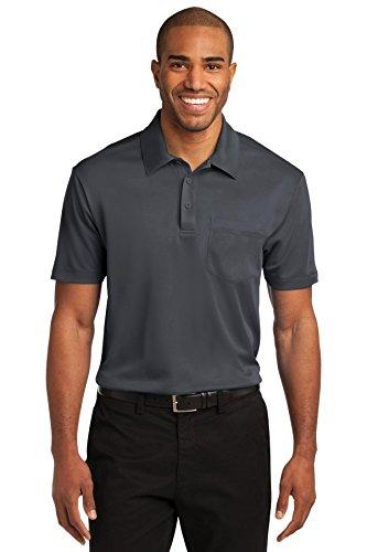 Camisa polo masculina Port Authority com bolso de seda e toque, Steel Grey, XX-Large