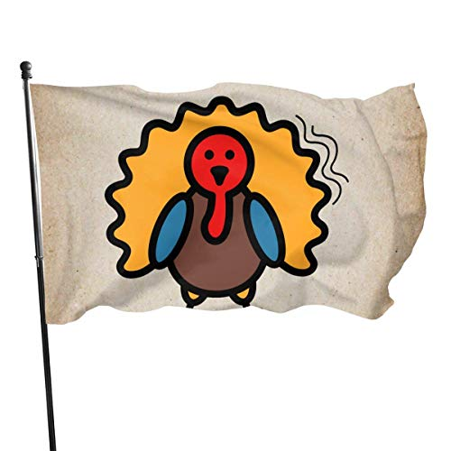 Oaqueen Flagge/Fahne Turkey Icon Harvest Thanksgiving Garden Flag Yard Home Decor Durable and Fade Resistant 3'x5' FT