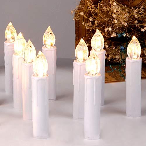 CCLIFE TÜV GS LED Weihnachtskerzen Kabellos RGB Kerzen Bunt Weihnachtsbaumkerzen Christbaumkerzen mit Fernbedienung Timer Kerzenlichter, Farbe:Weiss, Größe:20er