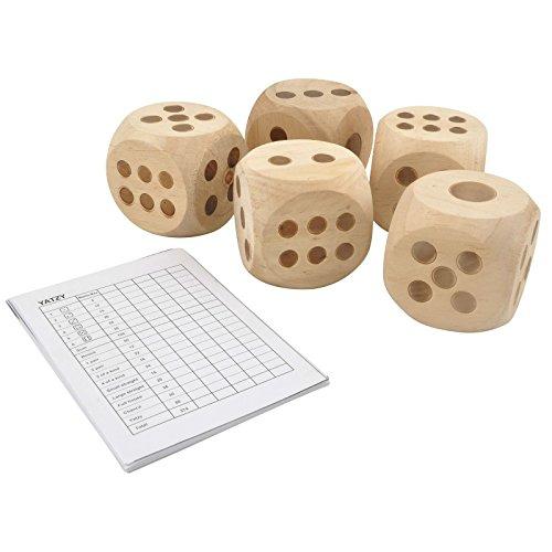 Gartenspiel Würfelspiel Yatzy mit Block Holzwürfel Spiel Outdoorspiel