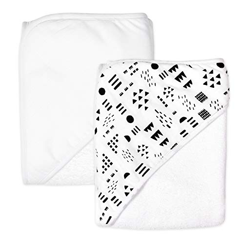 HonestBaby 2-Pack Organic Cotton Hooded Towels, Pattern Play, One Size