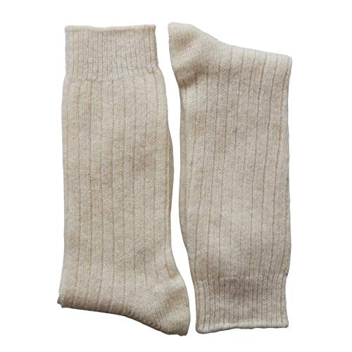 YUN Men's Natural Pure 100% Wool Warm Boot Winter Socks Traditional Cream (3-Pairs)