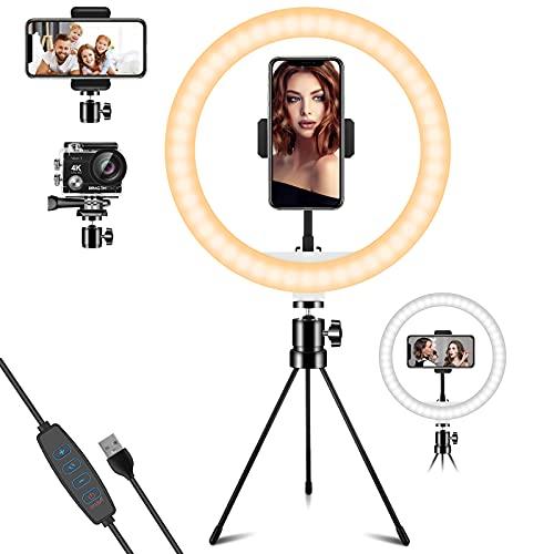 LED Ringlicht mit Stativ & Handyhalter 10.2 Zoll, Deerfun Selfie Ringlicht mit 3 Beleuchtungsmodi...