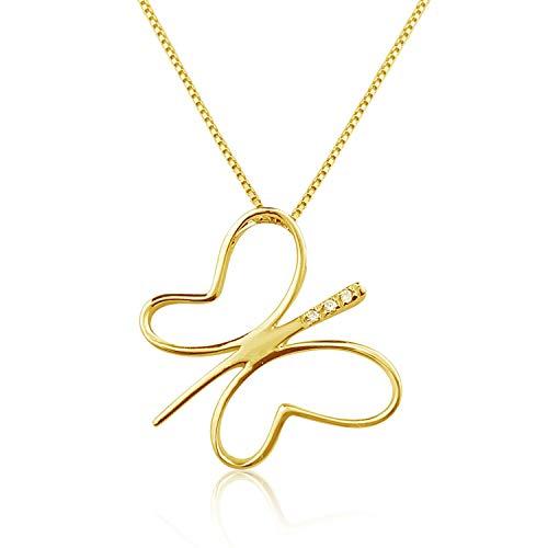 MILLE AMORI ∞ - Collana da donna con ciondolo in oro e diamanti ∞ oro giallo 9 kt 375  Diamanti 0,02 kt ∞ catena veneziana 42 cm ∞ Joy Collection