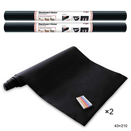 Ezigoo Vinilo Pizarra Negra- Pizarra Adhesiva de Papel Adherente - 43cm x 210cm pack de 2 incluye 10 tizas