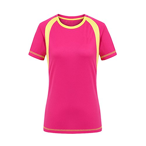 CIKRILAN Femme Respirant Quick Dry Wicking Col Rond Manches Courtes T-Shirt Outdoor Sport Course Randonnée Tee Tops (X-Large, Rose Rouge)
