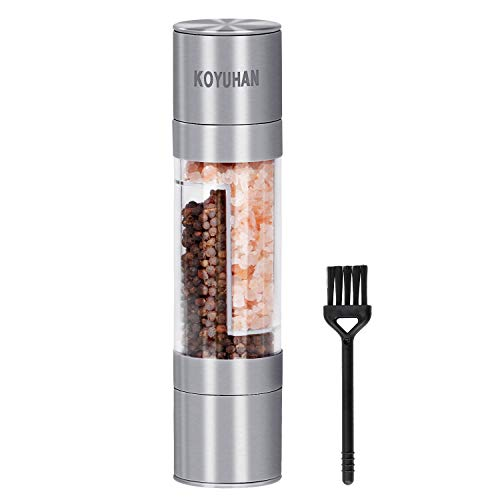 Salt and Pepper Grinder 2 in1,Salt and Pepper Shakers in Stainless Steel, Adjustable Coarseness Salt and Pepper mill, Spice Grinder Mill Set KOYUHAN