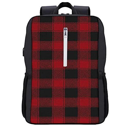 GKGYGZL Mochila de viaje,Cabina de Navidad Buffalo Check Rojo,Bolsa para computadora de negocios antirrobo delgada con puerto de carga USB