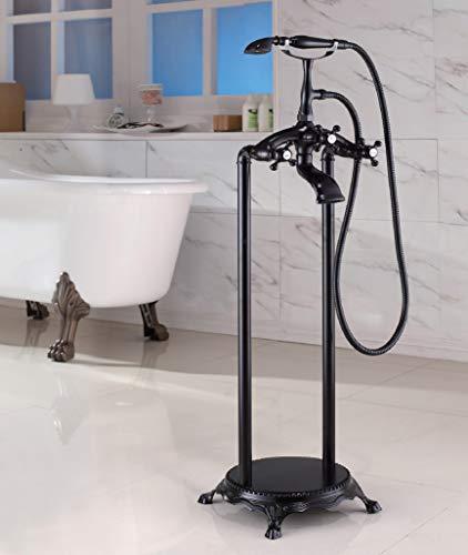 Standarmatur freistehende Wannenarmatur Armatur Wasserhahn mit Handbrause (Black)