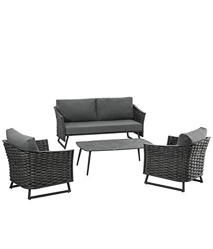 Dehner Gartenmöbel Lounge Salvador, 4-teilig, Aluminium, dunkelgrau