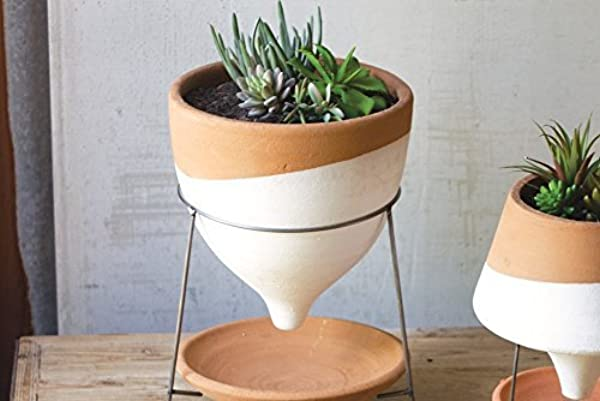 NATURAL WHITE LARGE TERRACOTTA FUNNEL PLANTER W WIRE BASE