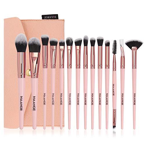 14 Pcs Pinceau De Maquillage Mis À L'ombre Fondation Sac Brosse Brosse Blush Contour Oeil Professionnel Cils Brosse,4