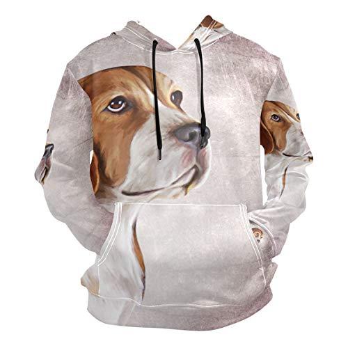 Sweats à Capuche pour Hommes Sweat-Shirts Animal Mignon Beagle Dog Motif Vintage Pulls à Manches Longues