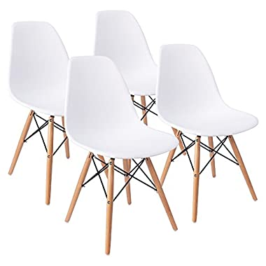 Furmax Mid Century Modern Style Dining Chair Pre Assembled White Eames Effiel Modern DSW Chair, Shell Lounge Plastic Chair for Kitchen, Dining, Bedroom, Living Room Side Chairs(Set of 4)