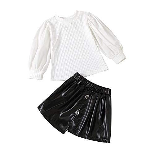XINMINGREN Kinder Neugeborenes Baby Mädchen Rock Outfit Top Shirt + Lederrock Kinderkleidung Set für 1-6 Jahre Baby Mädchen Outfit Sweatshirt Outfit Kleidung
