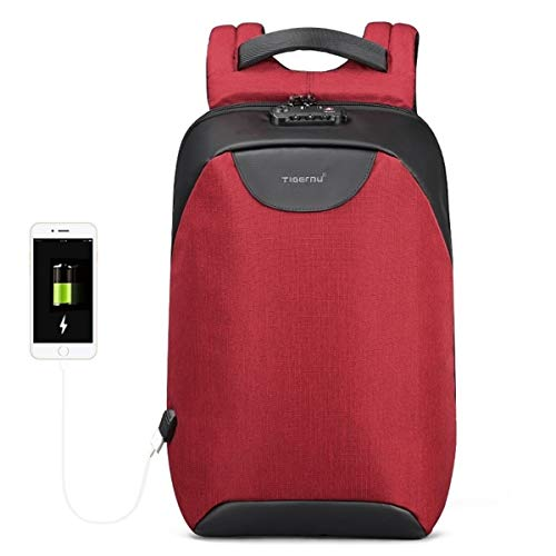2018 Anti Theft Laptop Backpack USB Charging Port Waterproof School Bags for Teenager (Red)