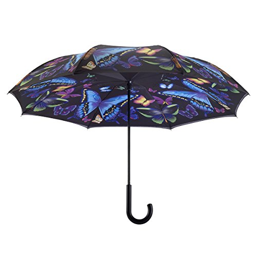 Galleria's Reverse Close Umbrella, Moonlight Butterflies with art on both sides.