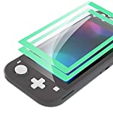 eXtremeRate 2 Pack Mint Green Border Transparent HD Clear Saver Protector Film, Tempered Glass Screen Protector for Nintendo Switch Lite [Anti-Scratch, Anti-Fingerprint, Shatterproof, Bubble-Free]