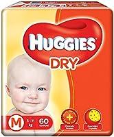 Huggies new Dry, Taped Diapers, Medium (5 - 11 kg), 60 Count
