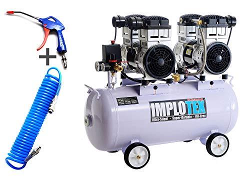 Compresor silencioso, 3000 W, 4 CV, 65 dB, silencioso, sin aceite, incluye pistola de soplado y manguera de aire comprimido IMPLOTEX