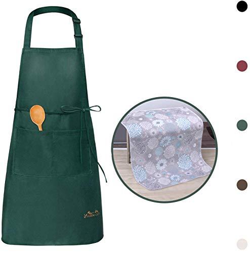 Viedouce Schürze,Wasserdicht Kochschürze mit Taschen,Verstellbarem Küchenschürze,Grillschürze,latzschürze für Frauen Männer Chef-Belastbar & Einfach zu Reinigen(1x Schürze + 1 x Küchentuch)