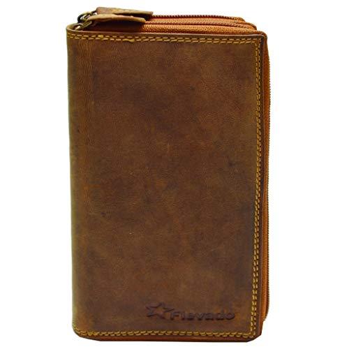 flevado Xl Portemonnaie Große Damen Wild Leder Geldbörse mit viel Stauraum und Platz für 22 Karten, Braun, Breite ca. 19 cm Höhe ca. 9,5 cm Tiefe ca. 3,5 cm