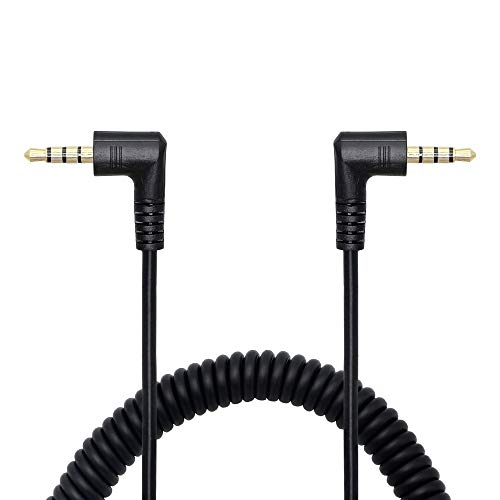 CERRXIAN 90 Degree Right Angle 3.5mm Male to Male Jack 4 Pole Extension Aux Audio Coiled Spiral Cable