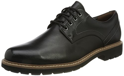 Clarks Batcombe Hall, Scarpe Stringate Derby Uomo, Nero (Black Leather -), 43 EU