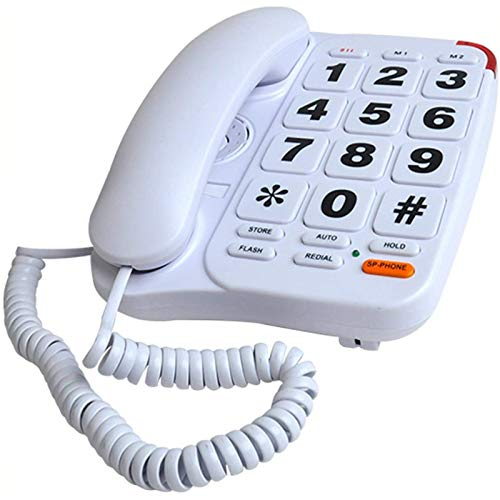 VERDELZ Teléfono Fijo Fijo Teléfono con Cable De Botón Grande para Personas Mayores Teléfono con Cable con Memoria De Marcación Manos Libres con Volumen Más Alto Teléfono Fijo De Emergencia 911