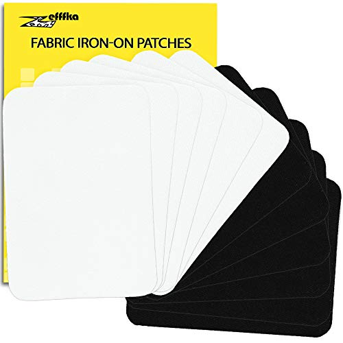 ZEFFFKA Premium Quality Fabric Iron On Patches Black and White 12 Pieces 100% Cotton Repair Kit 3' by 4-1/4'