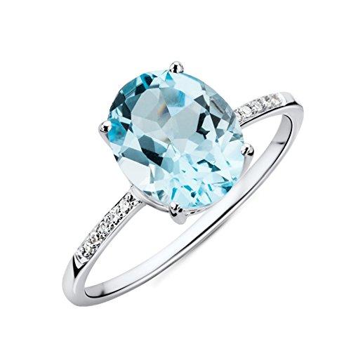 Miore mujer 9 k (375) oro blanco talla ovalada azul topacio diamante