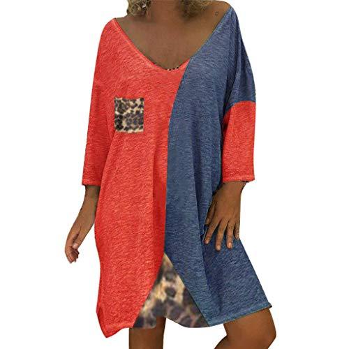 LOPILY Damen Kleid Leopard Muster Shirtkleid 54 52 Farbblock Tunika Kleid Locker Große Größen Blusenkleid Wild Sexy Hemdkleid Knielang Strandkleid Retro Abendkleid für Mollige (Rot, 50)