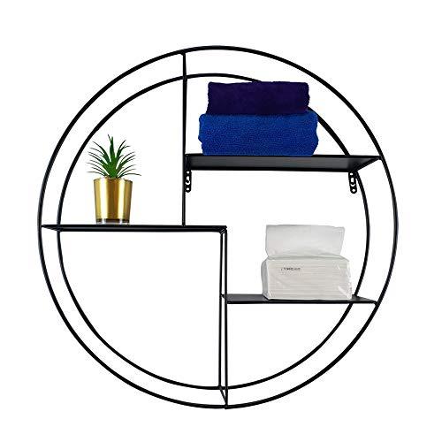 JIFULI Estantería de pared redonda sin necesidad de desmontar todos los estantes flotantes de hierro, estante decorativo de pared para recámara, sala de estar, baño, cocina, oficina y más, Contemporáneo, Wall Shelf Gold, XX-Large