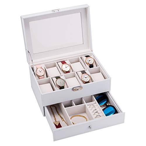 SSLine Watch Box Organizer with Glass Top Jewelry Storage Case Lockable 10 Slot Men Watch Display Case PU Leather, Ideal Holidy Gift for Men Women - White