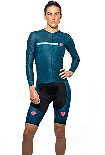 Sundried Camisa para Mujer Gama Pro Cycling Jersey Bici de la Manga Corta para el Desgaste del Ciclo Profesional de Bicicleta de Carretera (Azul, M)