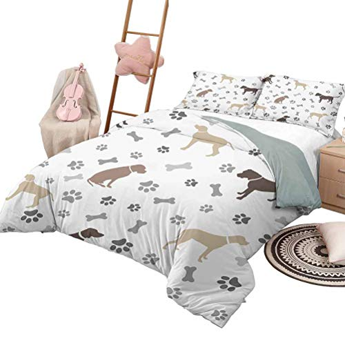 Daybed Quilt Set Dog Lover Custom Bedding Machine Washable Paw Print Bones and Dog Silhouettes American Foxhound Breed Playful Pattern King Size Umber Beige Grey