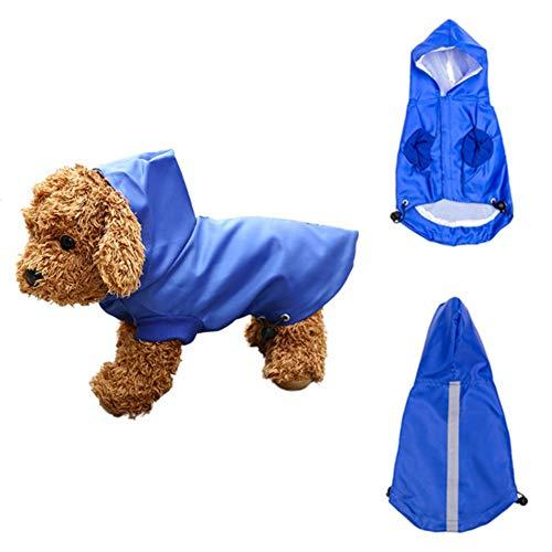 WENTS Hondenregenjas met capuchon en veilige reflecterende, ultralichte ademende 100% waterdichte regenjas voor kleine, middelgrote rassen (blauw)