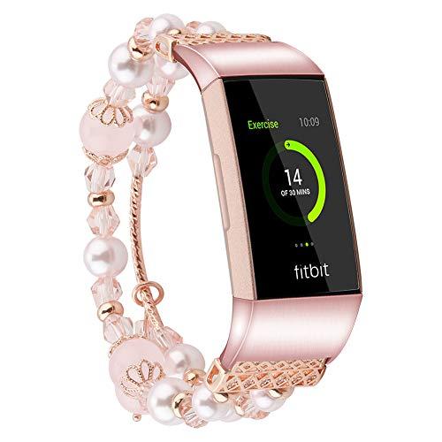 voor Fitbit Charge 3 Pearl Band, Mode Handgemaakte Sieraden Armband Elastische Parel Natuurlijke Steen Kraal Polsband Vervangende Band voor Fitbit Charge 3 Smartwatch, Small, roze