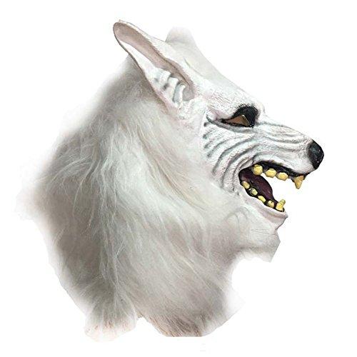 NAttnJf Halloween Horror Salvaje Lobo Cabeza Máscara Mascarada Mullido Decoración Sombreros Blanco