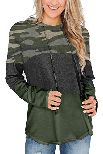 ANFTFH Womens Color Block Sweatshirts Long Sleeve Striped Drawstring Hoodies Pullover Camo L