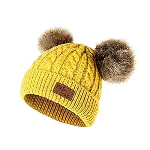 HuaCat Unisex Winter Beanie Strickmütze Hüte Waschbärpelz Mützen Wolle Kappe Zwei Haarballen Badymütze