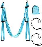ZRK Premium Profesional Sedas Aéreas Equipo Yoga Hamaca Conjunto Seda Conjunto Seguro Deluxe Kit Antigravity Swing Blue