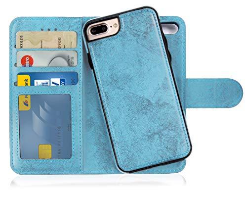 MyGadget Flip Case Handyhülle für Apple iPhone 7 Plus / 8 Plus - Magnetische Hülle in PU Leder Klapphülle - Kartenfach Schutzhülle Wallet - Hell Blau