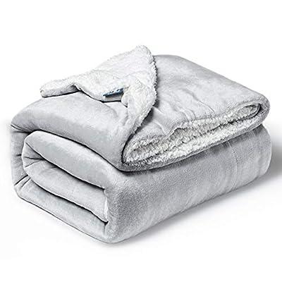 Bedsure Sherpa Fleece Baby Blankets Unisex for Boys, Girls, Kids, Toddler, Infant, Newborn, 30x40 inches, Light Grey - Fuzzy Warm Cozy Soft Blanket, Plush Microfiber Blanket for Crib Stroller Nap