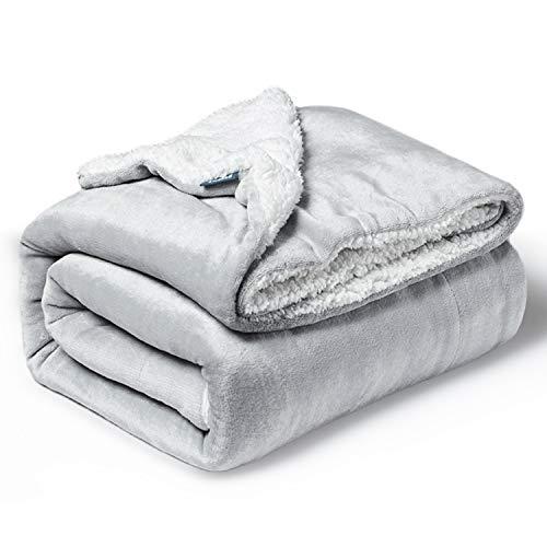 Bedsure Baby Sherpa Fleece Blankets for Boys, Girls, Kids, Toddler, Infant, Newborn, Unisex, 30×40 inches, Light Grey