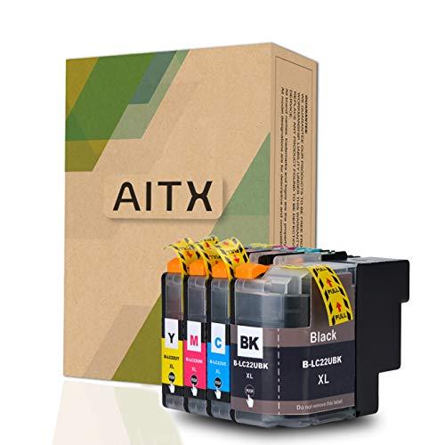 AITX LC22UXL Druckerpatronen LC22U XL Kompatible für Brother DCP-J785DW MFC-J985DW LC22UBK LC22UC LC22UM LC22UY Schwarz / Cyan / Magenta / Gelb Super hoher Ertrag-Tintenpatronen, 4Packungen