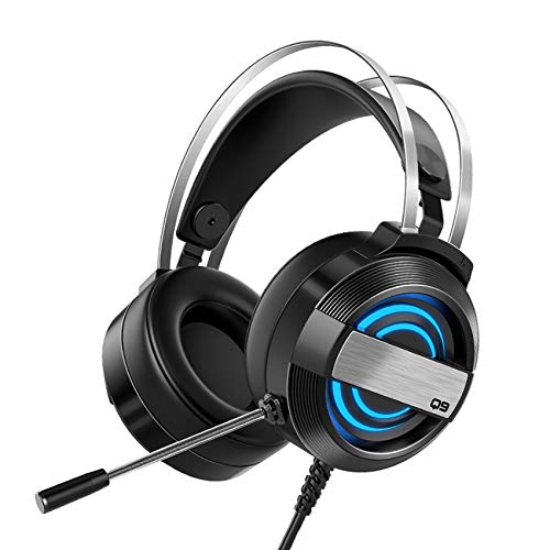 MIAO. Auriculares de Juego 7.1 Efecto de Sonido con Control de Volumen de micrófono y luz LED para PS4, Xbox One, Nintendo Switch, PC, PS3, Mac, computadora portátil