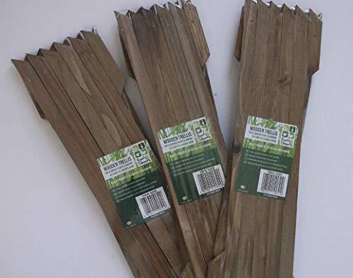 MD MUZ 3 X Garden Gardeners Dark Brown Coloured Wooden Expanding Expandabl Wooden Garden Trellis Each Piec Expands to 150 x 60cm new